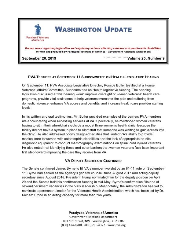 September 2019 Washington Update